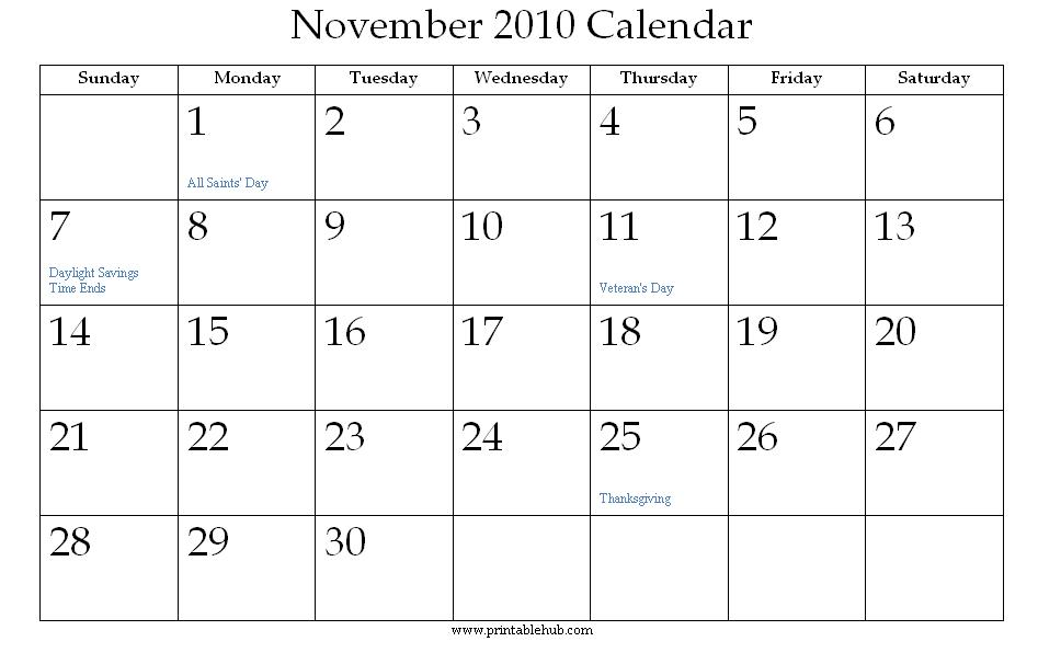 Calendar For The Month Of November