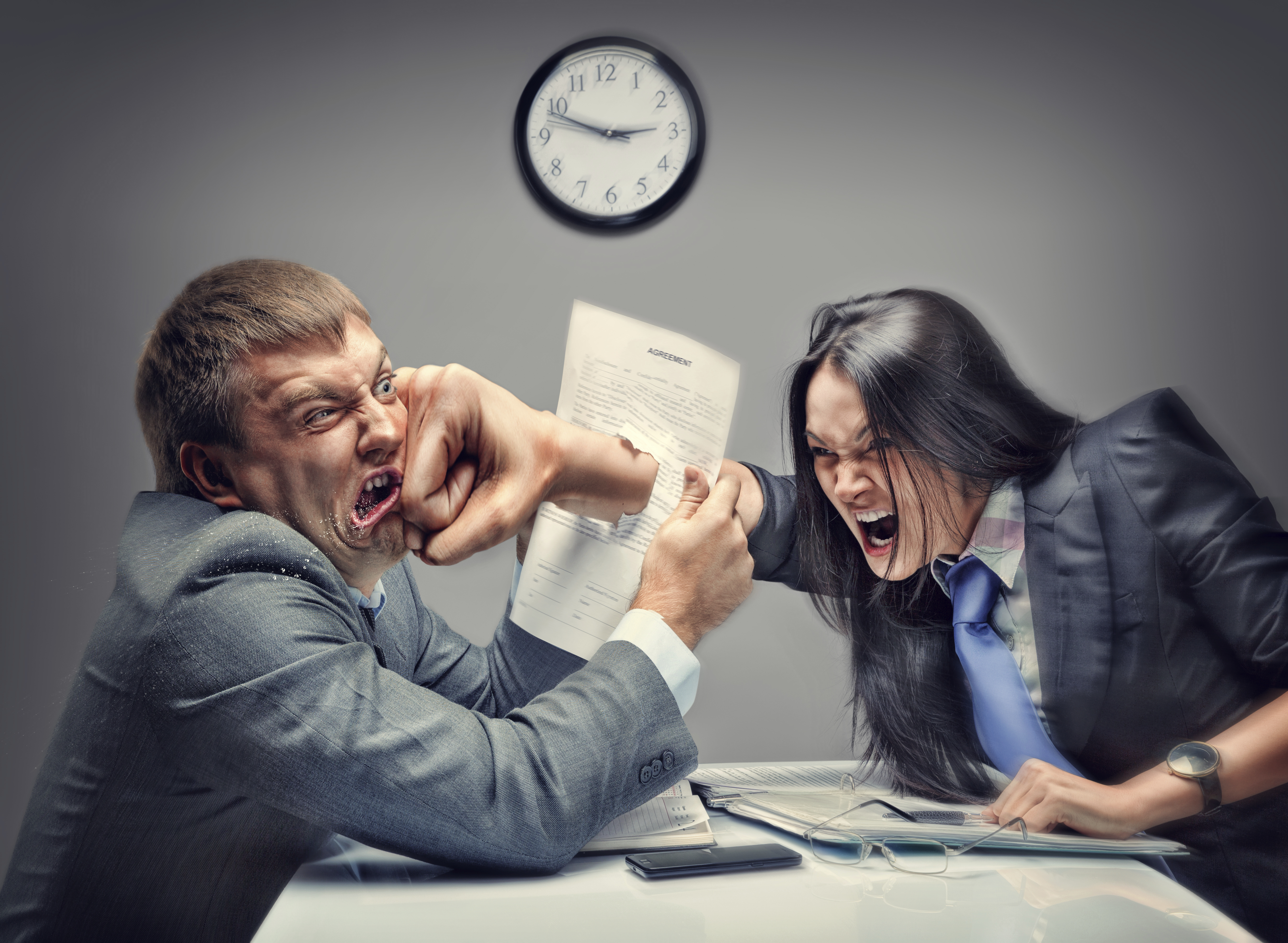 Mad fight of business people